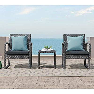 Patiorama 3 Pieces Outdoor Patio Furniture Set, Outdoor Wicker Conversation Set, Patio Rattan Chair Set, Modern Bistro Set with Coffee Table, Garden Balcony Backyard Poolside (Dark Grey)