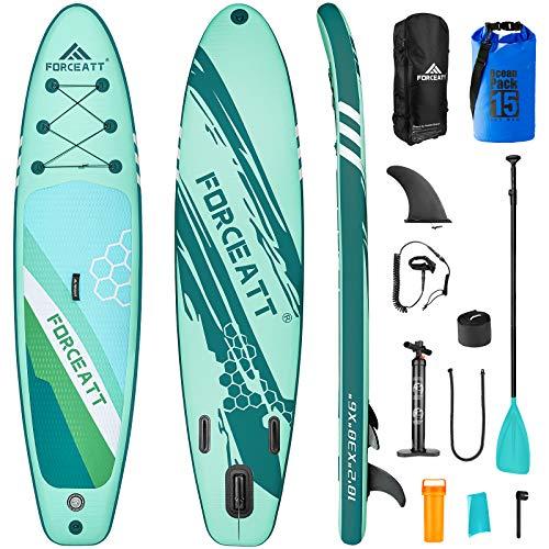 Forceatt Tabla de Paddle Surf Hinchable Sup Inflatable, Stand up Paddle Board de 310×76×15cm para Todos Los Niveles de Habilidad, Bomba de Mano, Cubierta Antideslizante, Bolsa Impermeable, y así