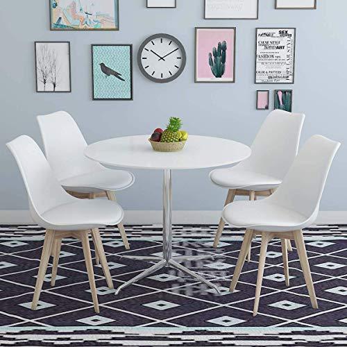 MWPO Bianco Set di 4 sedie da Pranzo in plastica in Stile Moderno in faggio Massiccio Naturale Gambe in Legno con Seduta Imbottita in PU per Salotto da Ufficio Cucina Camera da Letto Caffetteria