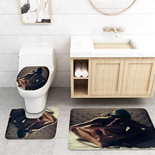 Bathroom Toilet Mats Lid Sets Rugs 3-Piece,Sex Couple Passionate Kissing Boy Embrace Love Naked Figure Passion Touch Men Women Complexion White