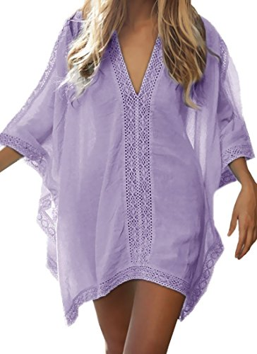 Loritta Womens Beach Bathing Suit Swim Bikini Swimsuit Oversized Cover Up Dresses (Purple)