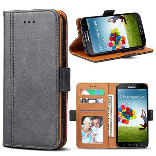 Bozon Galaxy S4 Hülle, Leder Tasche Handyhülle Flip Wallet Schutzhülle für Samsung Galaxy S4 mit Ständer und Kartenfächer/Magnetverschluss (Dunkel-Grau)