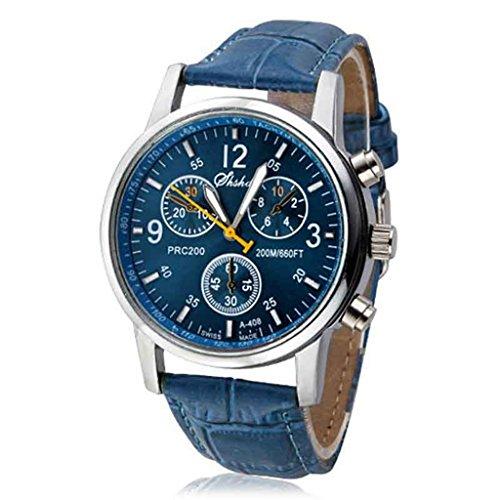 Timsa 時計 クォーツ腕時計 Watch メンズ腕時計 ウォッチ 本革 ローマ数字 薄型 軽量 便利 時間記録 釣り ハイキング 登山 狩猟 通学用(ブルー)