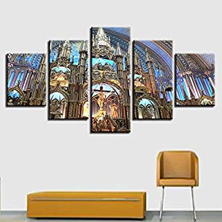 faqddf Decoration Living Room Modern Prints 5 Pieces Montreal Notre Dame Basilica Landscape Pictures Modular Paintings Canvas Wall Art-30x40cmx2 30x60cmx2 30x80cmx1