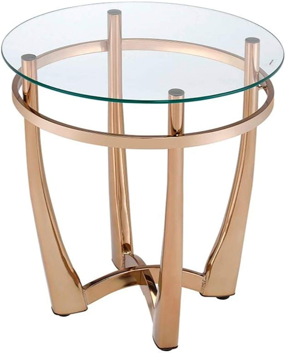 Benzara BM185777 Metal End Table with Glass Top, Champagne Finish
