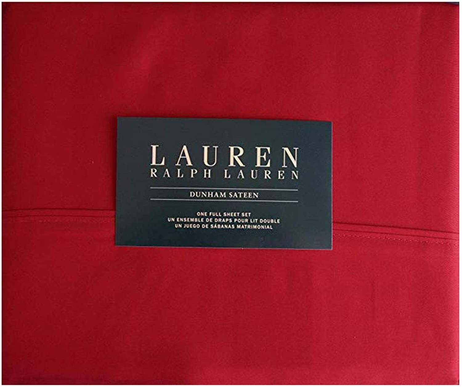 Ralph Lauren 4 Pc. Full Size Dunham Sateen Sheet Set 100% Cotton Admiral Red