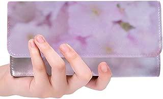 Unique Custom Pink Lilac Flowers Cherry Blossom Women Trifold Wallet Long Purse Credit Card Holder Case Handbag