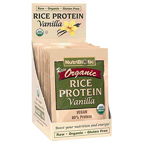 NutriBiotic – Certified Organic Rice Protein Vanilla, 12 Single-Serving Packets | Low Carbohydrate Vegan Protein Powder | Raw, Certified Kosher & Keto Friendly | Made without Chemicals, GMOs & Gluten