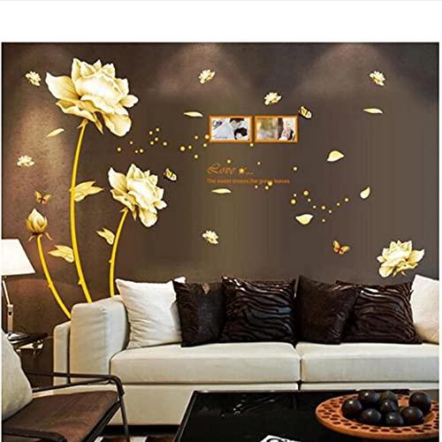 Wuixisajjh Golden Riches Honor Flowers Estilo Chino Diy Pegatinas De Pared Sala De Estar Tv Sofá Fondo Mural Calcomanía