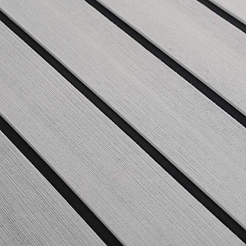 Yosoo Health Gear 90×240cm Decking Marine Mat, EVA Foam Faux Teak Anti Slip Boat Decking Sheet with Backing Adhesive Bevel Edge for Yacht RV Flooring(Light gray)