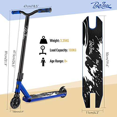 BELEEV Stunt Scooter, Complete Pro Trick Scooter for Kids Boys and Girls, 100mm Aluminium Core Wheels and ABEC-9 Entry Level Freestyle Kick Scooters for Beginner and Adults (Blue)