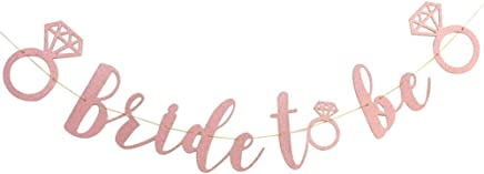 Hosaire 1x Wedding Banner Bridal Shower BRIDE TO BE Photo Props Hen Party Bunting Banner Glitter Bannermm, 3M, Rose gold