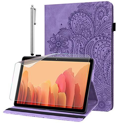 Hülle für Samsung Galaxy Tab A 8.0 2019 (SM-T290 / SM-T295) mit Schutzfolie und Stylus Stift - Ultra Dünn mit Standfunktion Flip Cover PU Leder Hülle (lila)