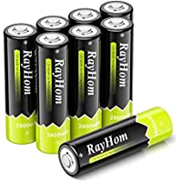 8-Pack RayHom 2800mAh Ni-MH AA Rechargeable Batteries