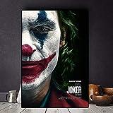 The Joker Movie Poster Canvas Prints Joaquin Phoenix Cuadros Pintura al óleo sobre póster Imagen de Arte de Pared para Sala de Estar Decoración para el hogar 40X60cm Sin Marco