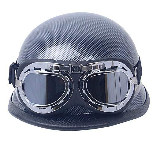 BAOB Casco de Moto de Vintage con Gafas Casco de Protección