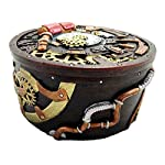 Gifts & Decor Round Steampunk Gearwork Time Waits for No Man Jewelry Box Trinket Figurine 7