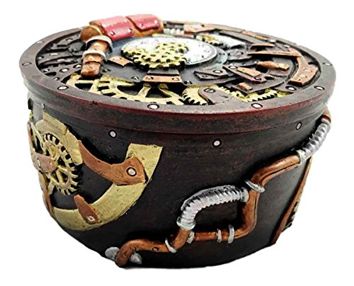 Gifts & Decor Round Steampunk Gearwork Time Waits for No Man Jewelry Box Trinket Figurine 4