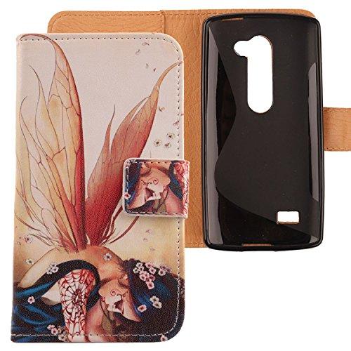 Lankashi PU Flip Leder Tasche Hülle Hülle Cover Schutz Handy Etui Skin Für LG Leon 4G LTE H340N C50 / Optimus Leon C40 Wing Girl Design