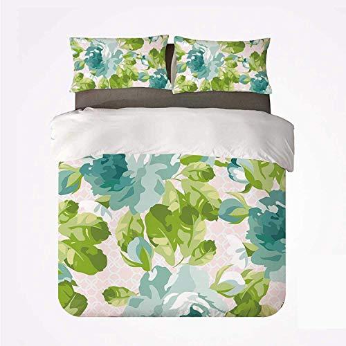 Popun Juego de Funda nórdica con decoración, Juego de 3 sábanas, botánica Tropical, Tema de jardín, Rosas Azules, Hojas, Ramos para Hotel