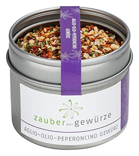 Aglio-Olio-Peperoncino Gewürzmischung - Spaghetti Gewürzmischung, Nudelgewürz, italienische Spezialität- Premiumqualität in schicker Aromadose, 45g | Zauber der Gewürze