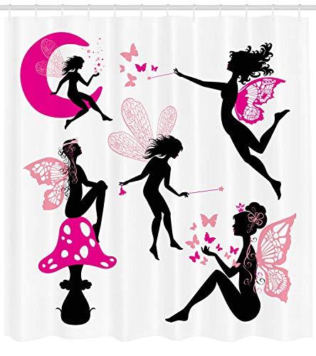 SHUHUI Feen-Duschvorhang für Mädchen, Silhouetten, sitzend auf Mond, mit Flügeln, Fantastischer Dreamy Cartoon-Stoff, mit Haken, 180 cm, Hot Pink