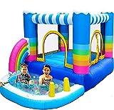 GLXLSBZ Casas inflables de Rebote para niños Castillo Inflable con soplador de 350 W, Piscina de Agua, Piscina de Agua, arcoíris, Salto pequeño (Entretenimiento al Aire Libre)