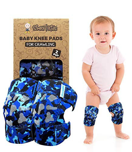(2nd Gen.) Baby Crawling Anti Slip Knee Pads for Crawling, 2 Pairs, CPSIA Certificated | Protector for Toddler, Infant, Girl, Boy (Ocean Camo)