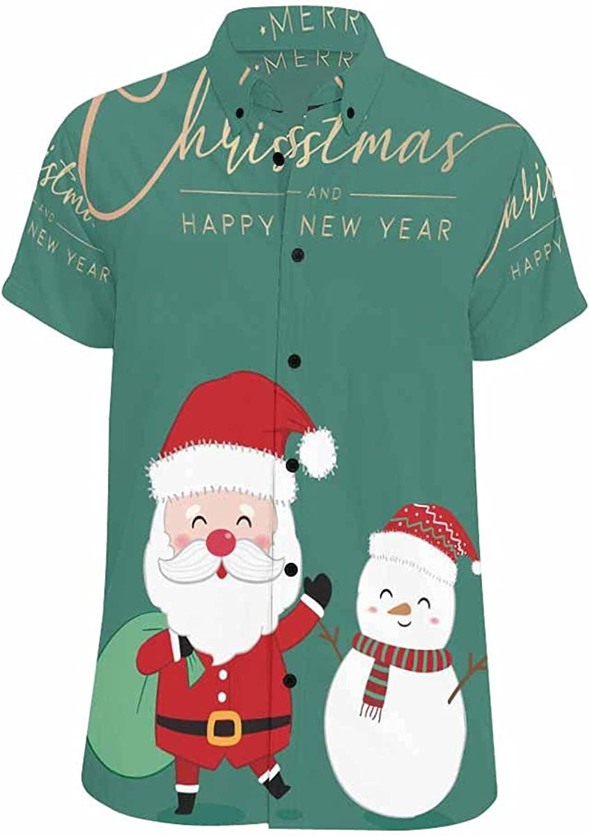 InterestPrint Happy Fathers Day Cartoon Men's Looser Fit Short Sleeve All Over Printed Button Shirt