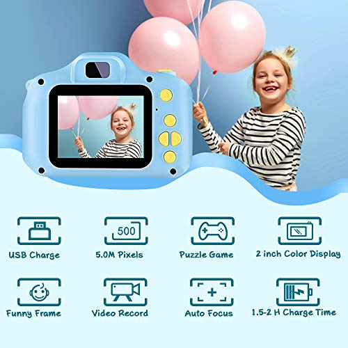 VATENIC Kids Toys for 3-10 Year Old Boys Girls, Kids Camera 1080P 2inch HD Children Digital Cameras for Girls B   est Birthday Toys,Toddler Camera Gift for 3-9 Year Old Boy (with 32G SD Card) (Blue)