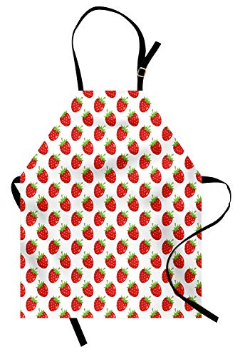 Lunarable Strawberry Apron, Fruit Theme Pattern Cartoon Styled Food on Plain Backdrop Illustration, Unisex Kitchen Bib with Adjustable Neck for Cooking Gardening, Adult Size, Fern Green