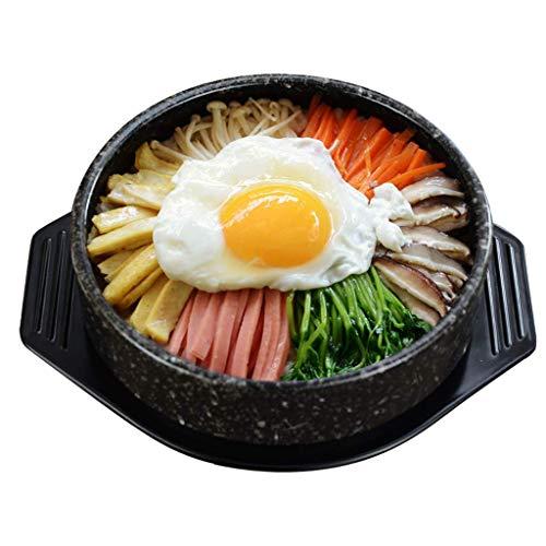 XBR Cuenco de Piedra Coreano Olla Coreana Olla arrocera Olla de cerámica manchada Hecha a Mano Cuenco bibimbap Olla Caliente para cocinar Sopa Negra 0.8l