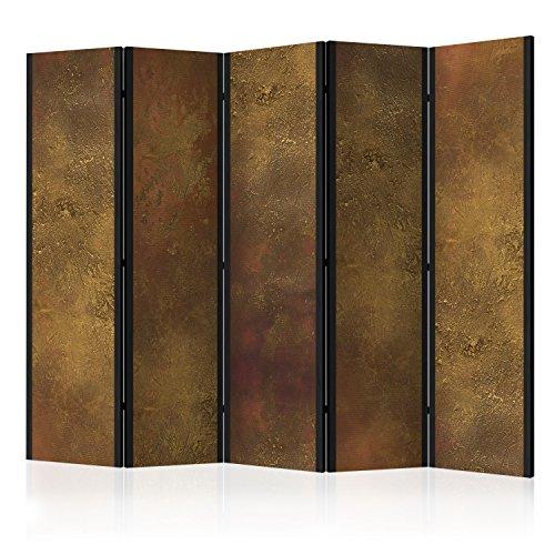 murando Raumteiler Abstrakt Foto Paravent 225x172 cm beidseitig auf Vlies-Leinwand Bedruckt Trennwand Spanische Wand Sichtschutz Raumtrenner braun Gold f-A-0398-z-c