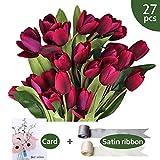 SNAIL GARDEN - Ramo de 27 Flores Artificiales de Seda de tulipán con Cinta de Manchas para decoración del hogar, Oficina, Boda, Fiesta, Color Morado