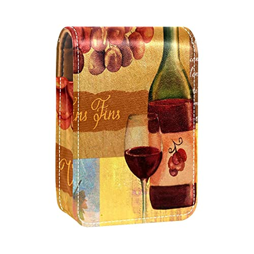 Estuche de lápiz Labial Estuche cosmético para Exterior Mini Bolso Soporte de Viaje portátil con Espejo Bolsa de Vintage Fina Vino Rojo Vidrio Uvas Hoja