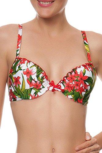 Antigel, Bikini- Oberteil gefüttert mit Bügel (A- & B-Cup mit Push-up), L'equatoriale EBA4338 (70B, Fleur Exotic)