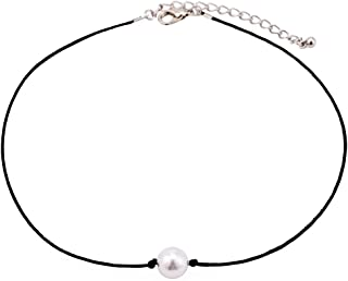 Single Pearl Choker Necklace on Genuine Leather Cord for Women Handmade Choker Jewelry Gift