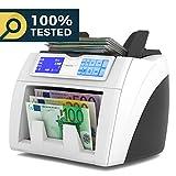 Contabanconote con Valore Detectalia S400 con 7 Controlli di Contraffazione e Affidabilità al 100% nei Test Ufficiali della BCE. Non è Necessario Aggiornare per la Valuta €