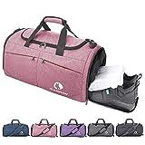 CANWAY Bolsa Deporte Bolsa Gimnasio de Viaje Impermeable con Compartimento para Zapatos Bolsos Deportivos Bolsa Fin de Semana Travel Duffle Bag para Hombres 45L Rosa