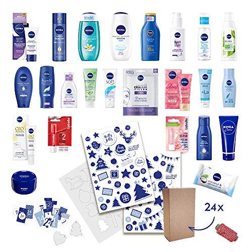 Calendario de adviento NIVEA DIY para mujeres 2020 con decoraciones sostenibles para llenar, incluye 24 productos, cajas plegables y decoraciones para diseño individual - valor de los productos 81EUR