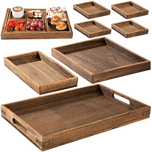 Rustic Wooden Serving Trays with Handle - Set of 7 - Large, Medium, Small and Mini - Nesting Multipurpose Trays - for Breakfast, Coffee Table/Butler & More - Light & Sturdy Paulownia Wood