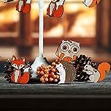 VALERY MADELYN Holz Deko Hänger Herbst Dekoration Figuren 24er Set 4.5-5.5cm Igel Eule Fuchs Eichhörnchen Herstdeko Bunte bemalt Fensterhänger mit Schnur zum Aufhängen Erntedankfest Herbst Dekoration - 6