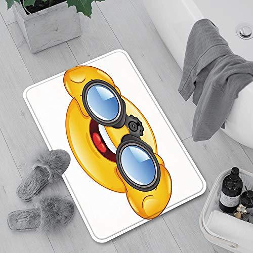 Rutschfeste Badematte 60 x 100 cm,Emoji, Smiley-Gesicht mit einer Teleskop-Fernglas-Brille, die ,Maschinenwaschbare Badematte, Badvorleger mit Wasserabsorbierenden,für Badewanne, Dusche und Badezimmer