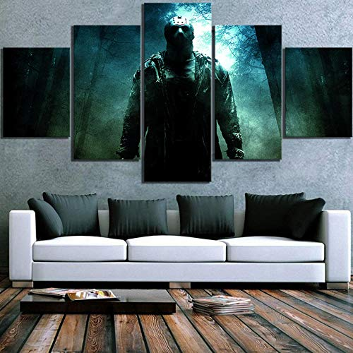 WANGZUO Home Decorative Canvas HD Prints Friday The 13th Horror Movie Jason Voorhees Paintings Modular Pictures Wall Art Poster/Frame/150x80CM