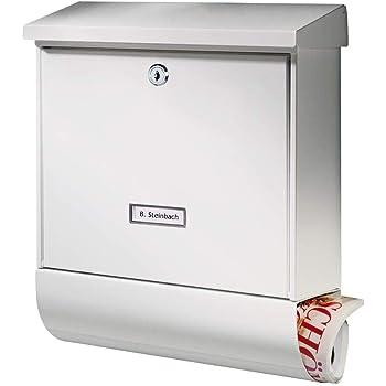 Edelstahl Relaxdays Briefkasten mit Zeitungsfach und Namensschild Schwarz Modern Design HxBxT: 36,5 x 37 x 10,5 cm