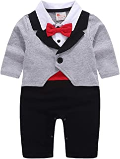 ALLAIBB Newborn Boy Long Sleeve Bodysuit Fake 2pcs Gentleman Cotton Bow-Knot Baby Romper