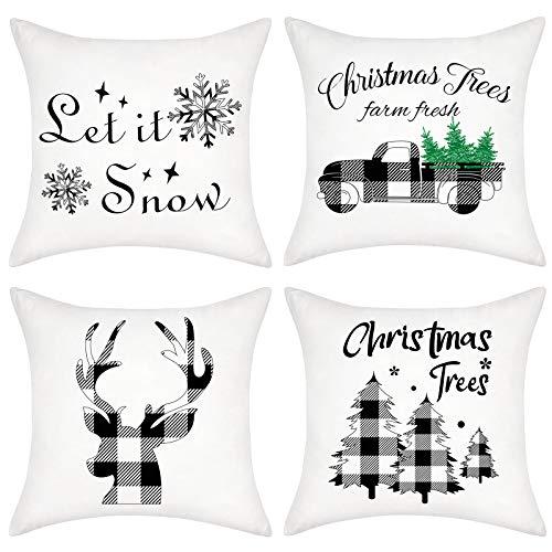 Bateruni 4er Set Weihnachten Kissenbezüge, Schwarz Weiß Plaid Rentier Zierkissenbezug, Schneeflocken Kissenhülle für Sofa Couch Bett Auto 45 x 45cm