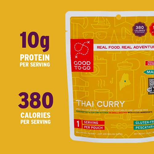 GOOD TO-GO Thai Curry - Single-Serving | Dehydrated Backpacking and Camping Food | Lightweight | Easy to Prepare