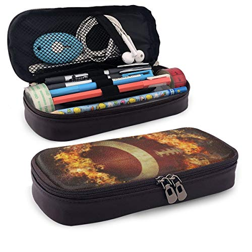 Fire Soccer PU Leather Pencil Pen Case Pouch Bag Middle High School Supplies For Student Coin Purse Cosmetic Makeup Bag