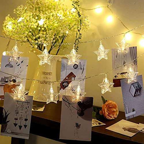 SJHP Foto Clip Cadena de Luces LED Colgar Fotos de Luces 6m 40 Led Clip Cadena de Luces con Mando a Distancia para Colgar Fotos por decoración Habitaciones Bodas Cumpleaños